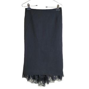 LE CHATEAU Skirt Black High-Low Lace Midi